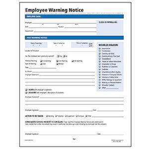 Sizzling image inside free printable employee warning notice